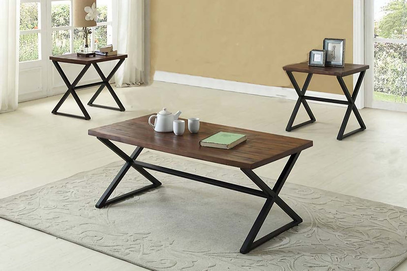3 Piece Wooden & Metal Coffee Table Set
