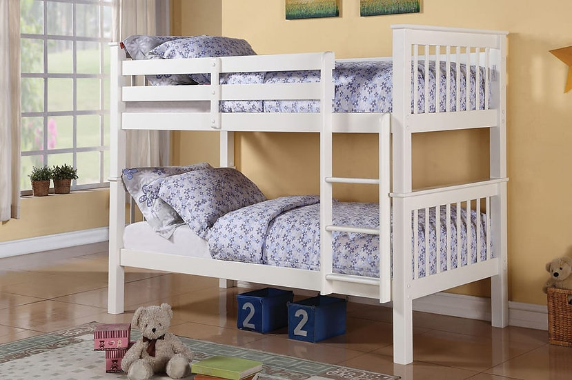 Customizable Wooden Twin Bunk Beds | White