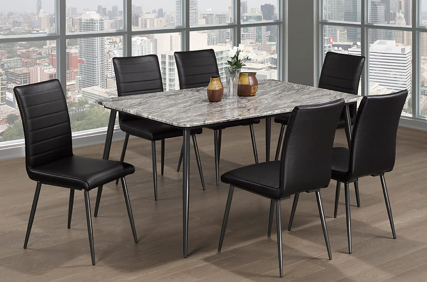 7 Piece Dining Set - Black Dining Chairs