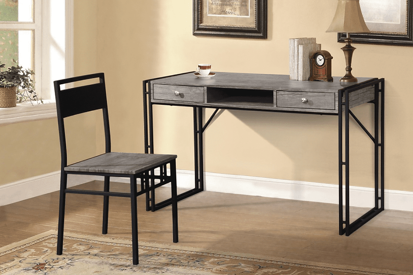 Wooden Desk & Chair ~ Distressed Grey Finish