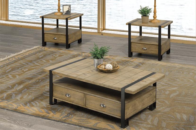 3 Piece Wooden & Metal Coffee Table Set ~ Oak