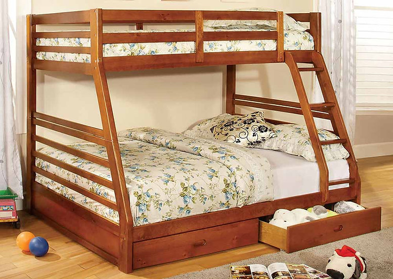 Twin over Full Loft Bunk Bed with Storage  | Honey