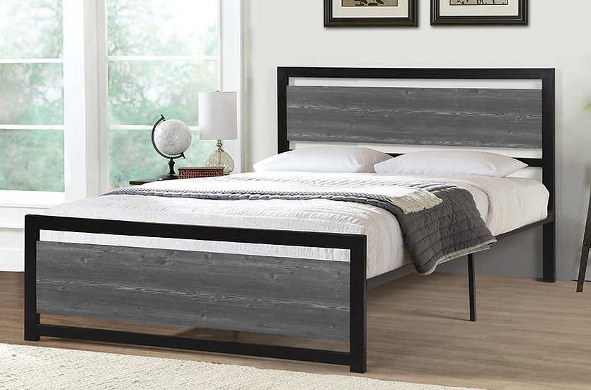Wooden & Metal Platform Bed ~ Black/Grey