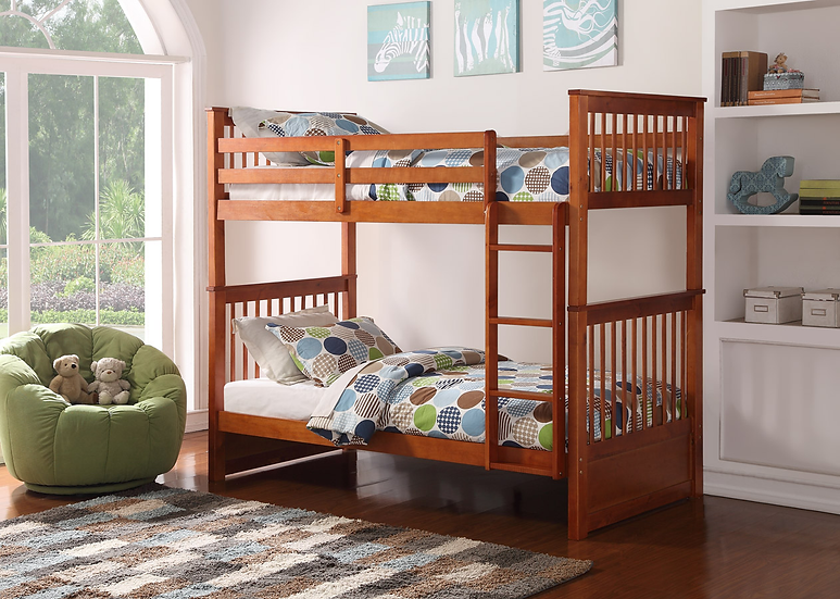 Wooden Twin over Twin Bunk Bed with Ladder | Honey