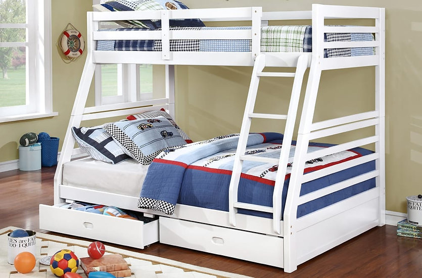 Twin over Full Bunk Bed with Drawers | White