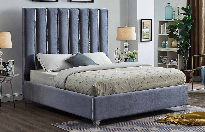 Glamorous Velvet Fabric Platform Bed ~ Grey