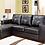 Thumbnail: Reversible Leatherette Sectional Sofa ~ Black