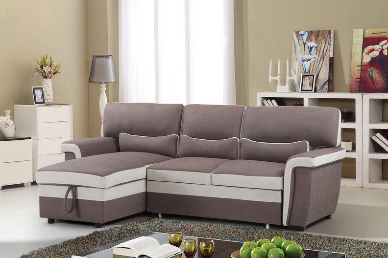 Sofa Pull Out Bed & Storage ~ Brown/Beige