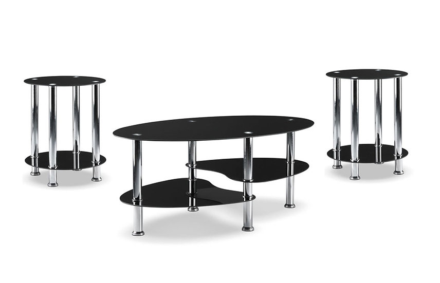 3 Piece Coffee Table Set ~ Glossy Black
