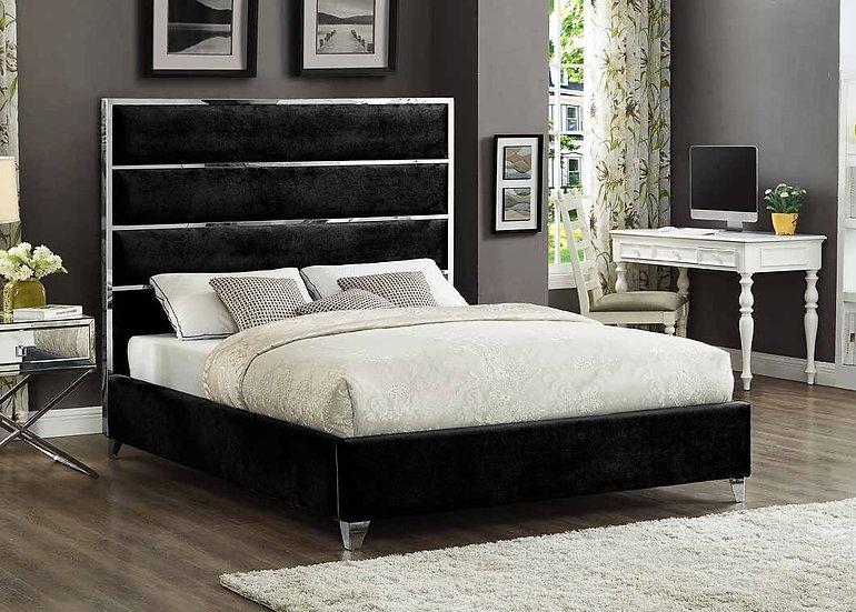 Velvet Fabric Platform Bed ~ Black