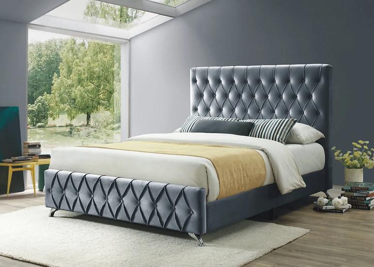 Diamond Pattern Fabric Platform Bed ~ Grey