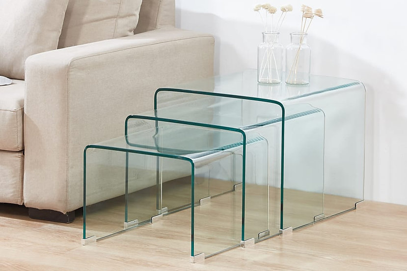 3 Piece Nesting Coffee Table Set Clear Glass