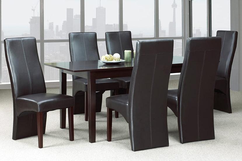 7 Piece Wooden Upholstered Dining Set ~ Espresso