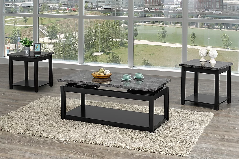 Faux Marble Lift Top Coffee Table, End Table or 3 PC Set