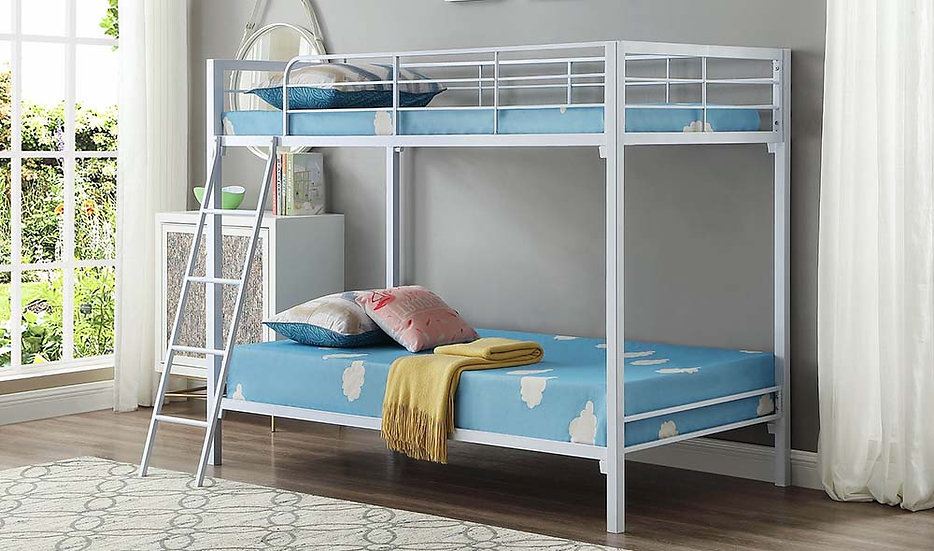 Twin over Twin Metal Bunk Bed | White