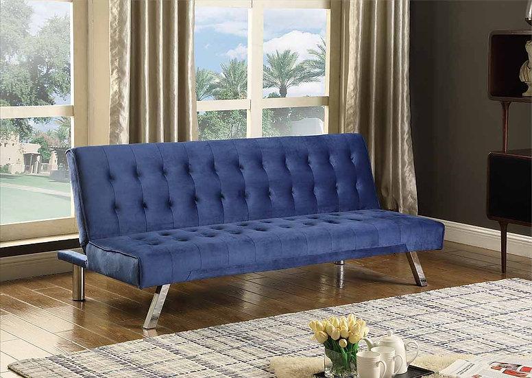 Linen-Style Velvet Sofa Bed  ~ Blue