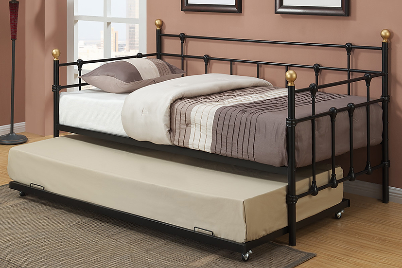 Metal Day Bed Optional Trundle Bed ~ Black
