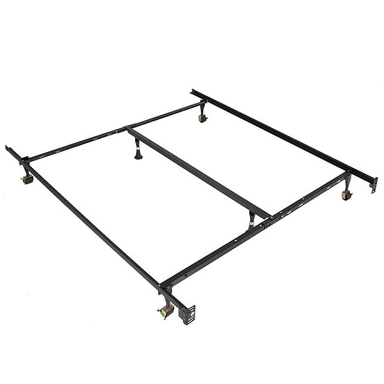 Wheels, Glides & Centre Support Metal Bed Frame - Queen/King
