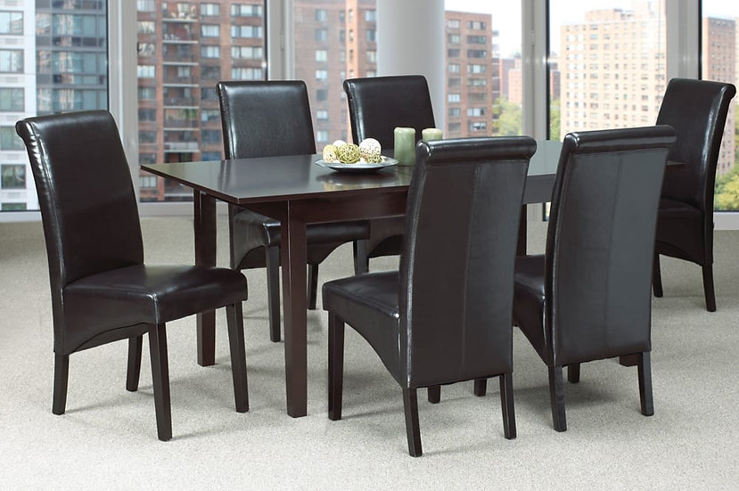 7 Piece Wooden Upholstered Dining Set ~ Espresso