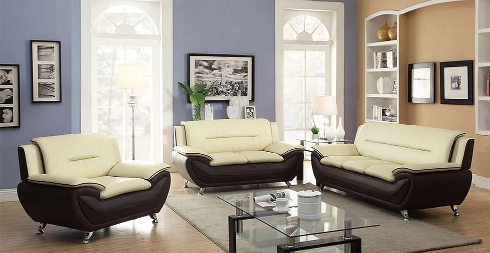 3 Piece Sofa Set ~ White & Black