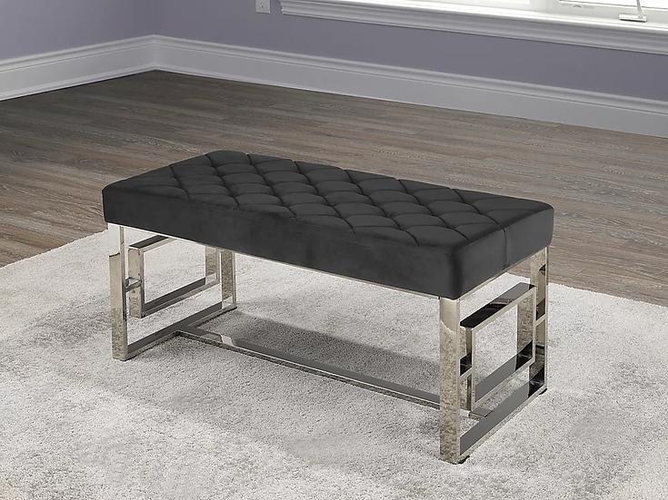 Velvet Fabric Bench ~ Black
