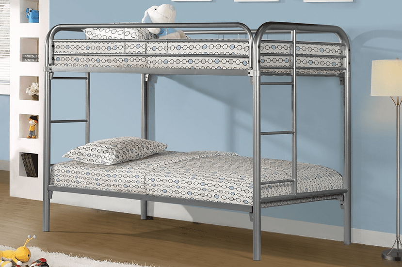 Metal Bunk Bed Frame Twin over Twin | Grey