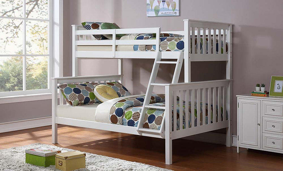 Wooden Twin over full Bunk Bed | White