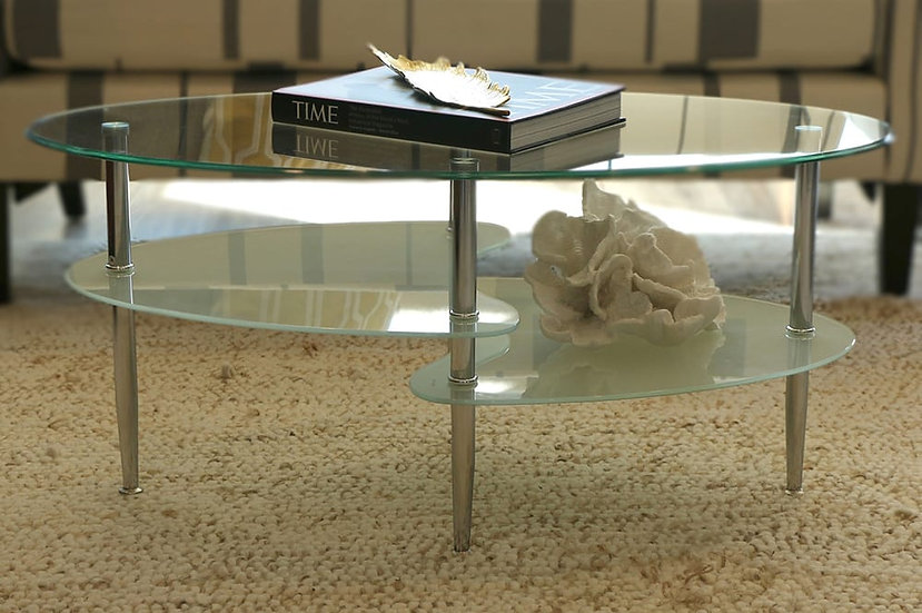 Frosted Glass, Metal Storage Coffee Table ~ Chrome