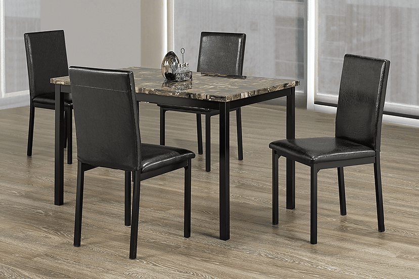 5 Piece Faux Marble Dining Table and Chairs - Black