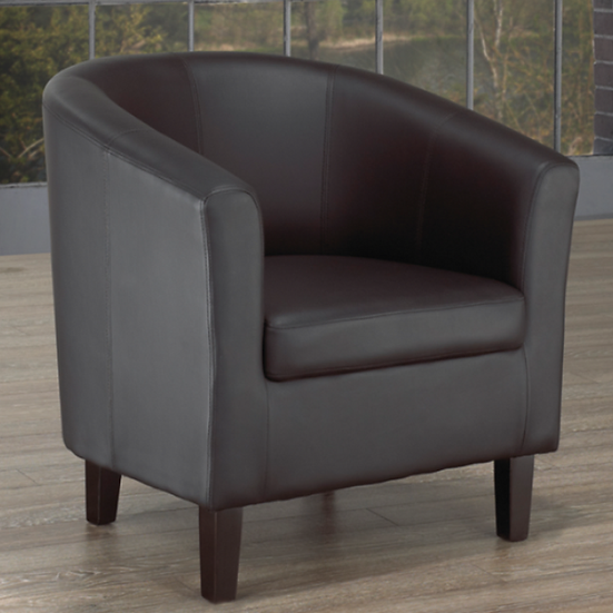 PU Leather Tub Chair ~ Black