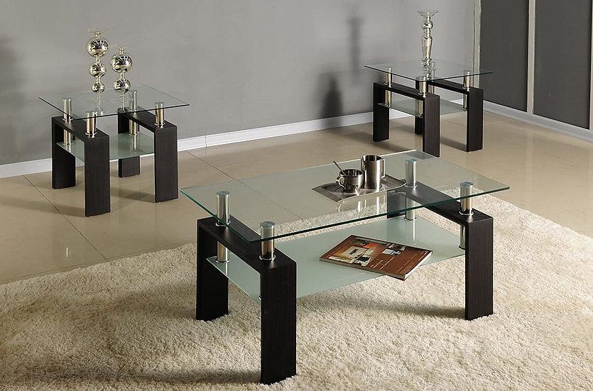 3 Piece Coffee Table Frosted Glass Set, Metal & Wood Storage ~ Dark Espresso