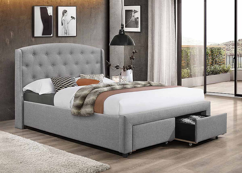 Storage Fabric Bed ~ Dark Grey