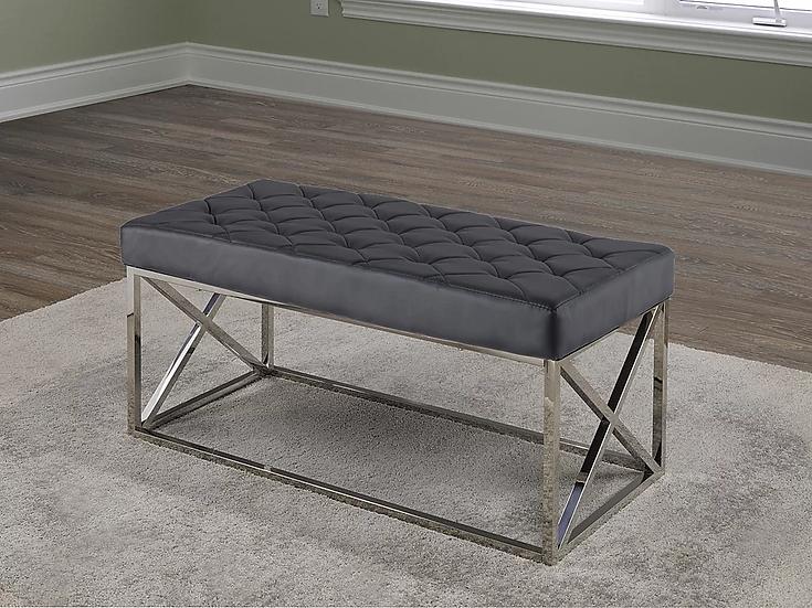 Velvet Fabric Bench ~ Black