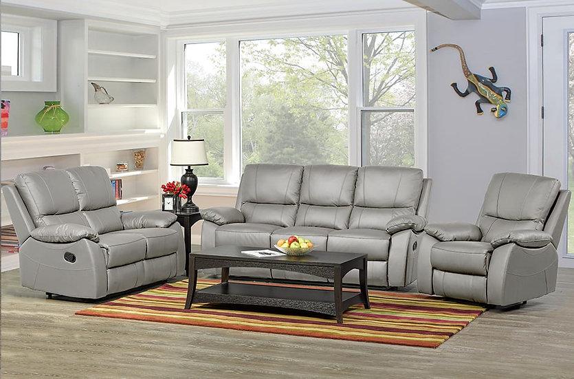 3 Piece Recliner Sofa Set ~ Light Grey
