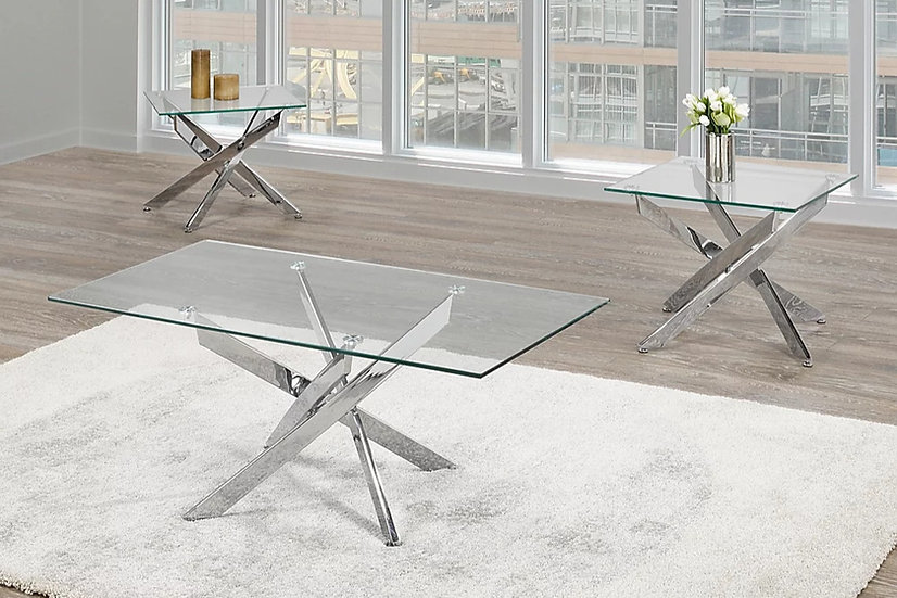 3 Piece Coffee Table Set, Glass & Metal