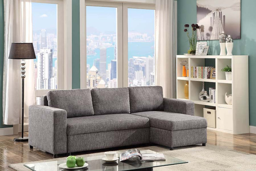 Reversible Sectional Sleeper with Storage Sofa ~ Grey