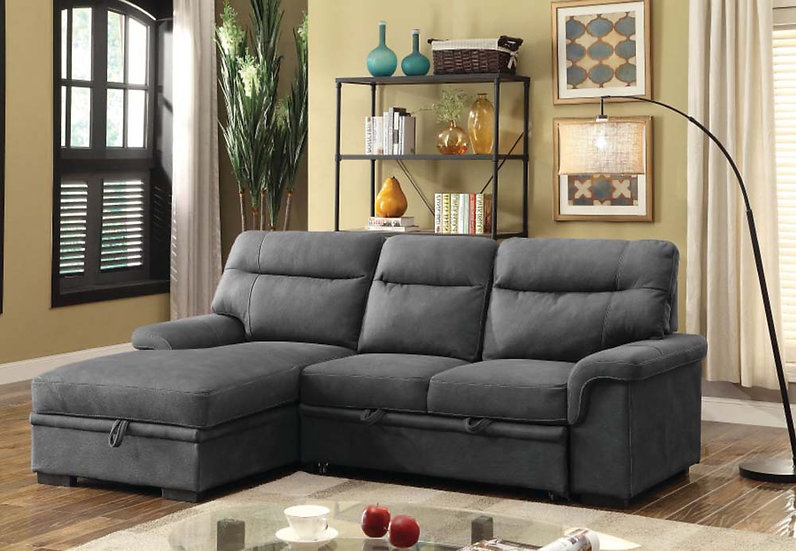 Sofa Pull Out Bed & Storage ~ Grey