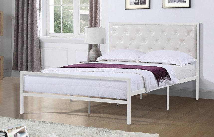 Metal & Upholstered Platform Bed ~ White