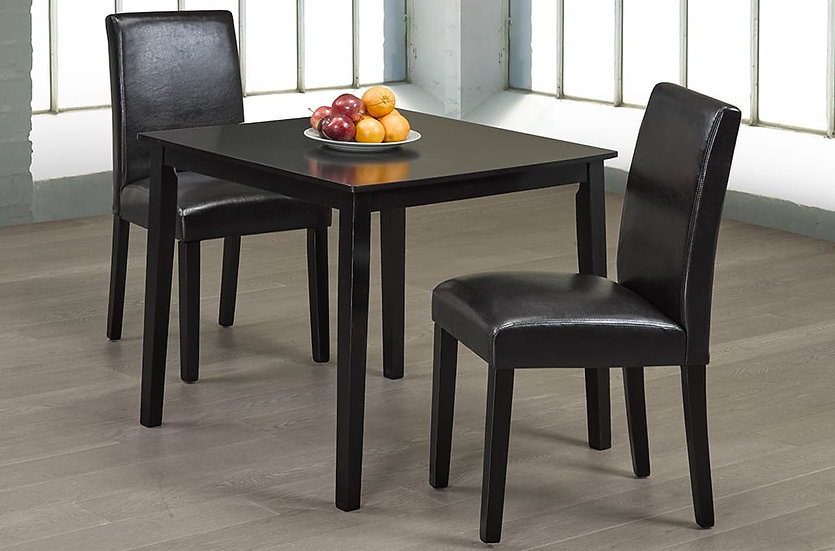3 Piece Wood Upholstered Dining Set ~ Espresso
