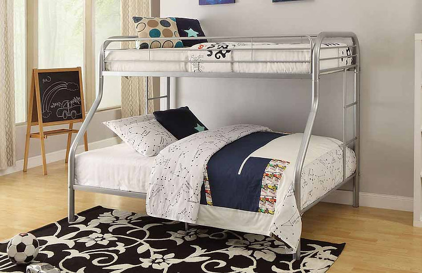 Metal Bunk Bed Twin over Full | Grey