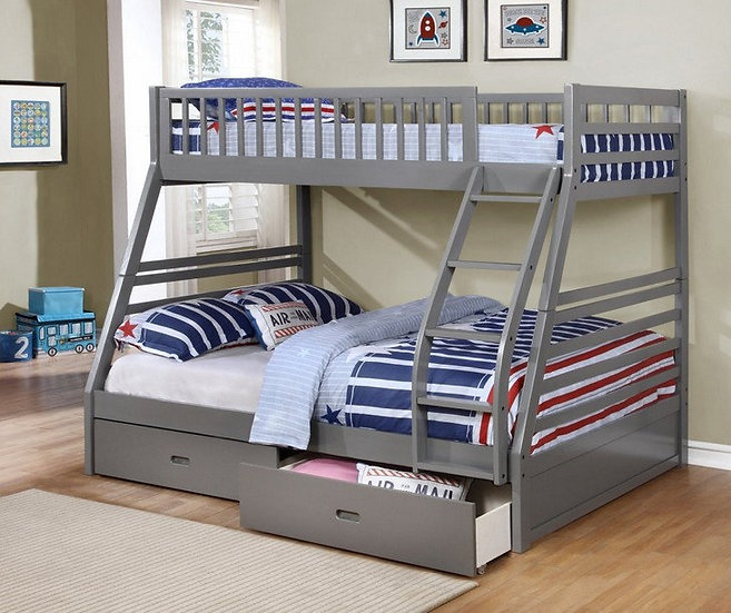 Twin over Full Bunk Bed with Storage Drawers | Grey