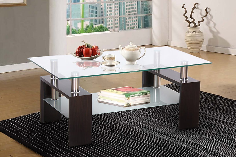 Frosted Glass, Metal & Wood Storage Coffee Table ~ Black
