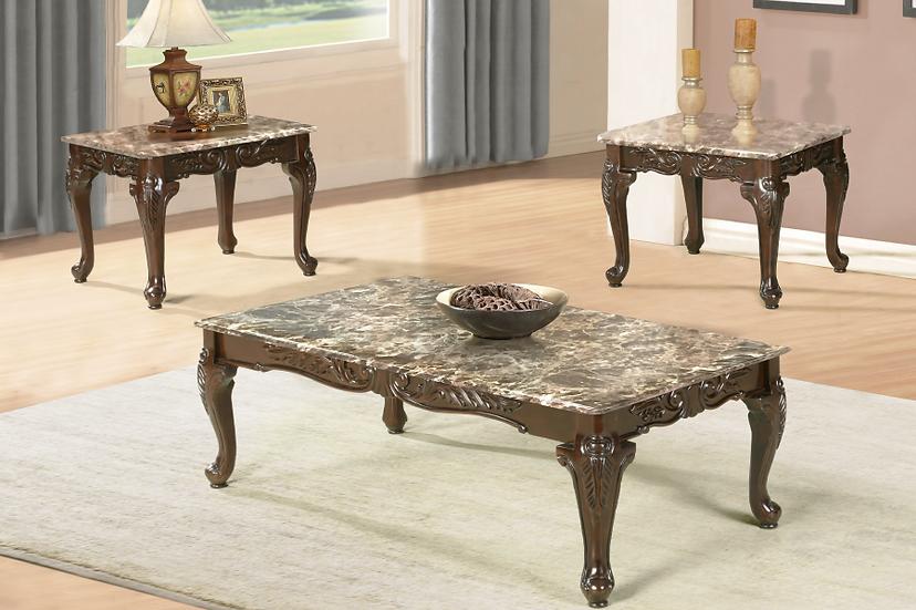 3 Piece Faux Marble Coffee Table Set ~ Walnut