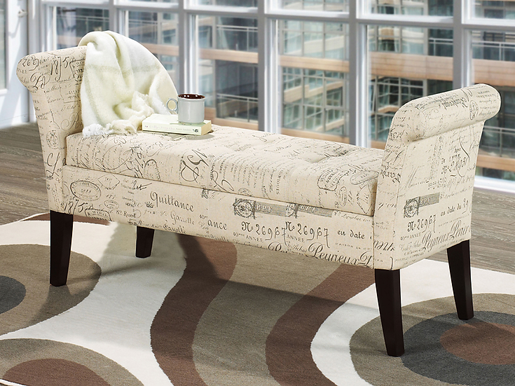 Fabric Storage Bench ~ Beige French