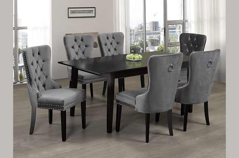 7 Piece Wooden Upholstered Dining Set ~ Grey