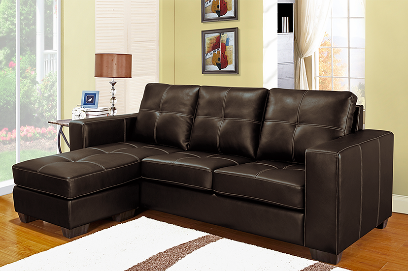Reversible Leatherette Sectional Sofa ~ Brown