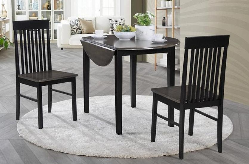 3 Piece Wood Dining Set ~ Black/Grey