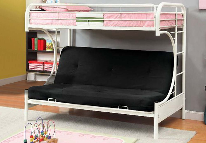 Metal Futon Bunk Bed Frame | White