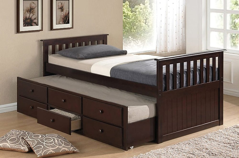 Wooden Trundle Bed ~ Espresso