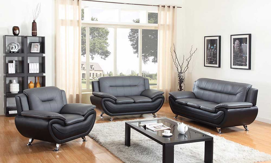 3 Piece Sofa Set ~ Grey & Black